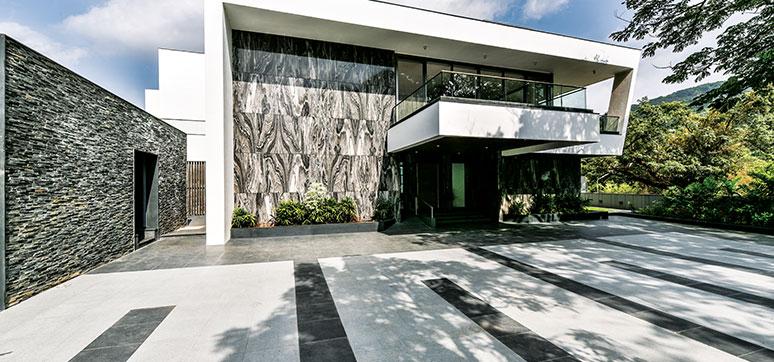 طراحی نمای ساختمان دو طبقه سرامیکی