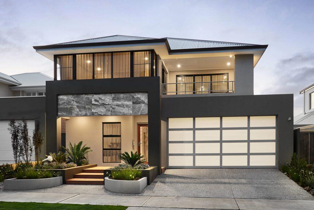 طراحی و اجرای نمای ساختمان دو طبقه